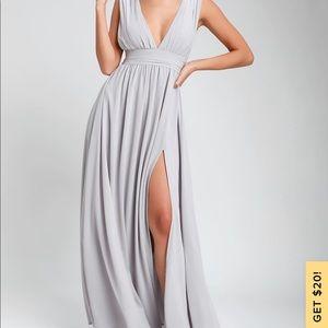 Lulus Gray Goddess Dress